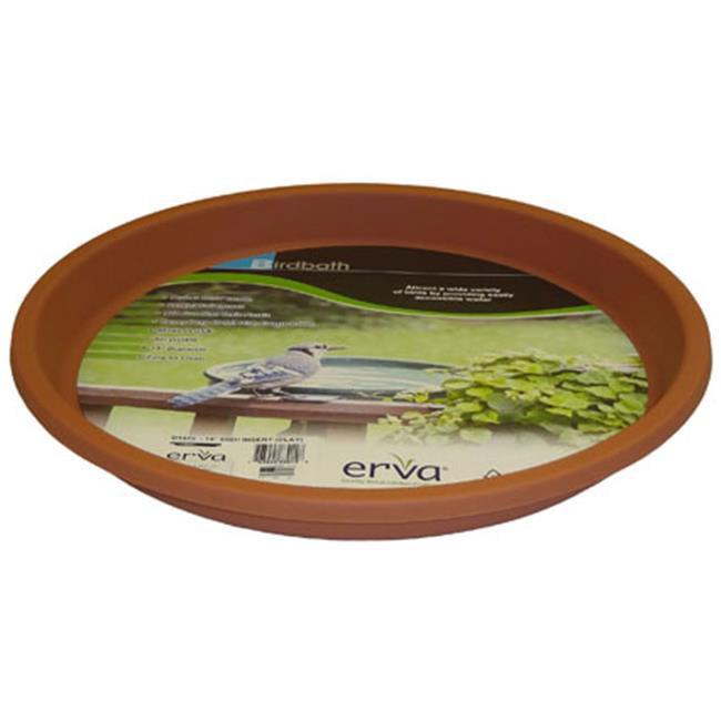 Erva 14 inch Birdbath Plastic Dish Terra Cotta Garden Yard Lawn Paio Decoration by Erva