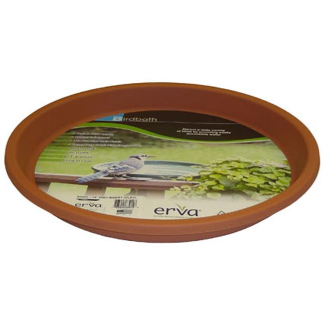 Erva 14 inch Bird Bath Plastic Dish Terra Cotta Garden Yard Lawn Paio Decoration