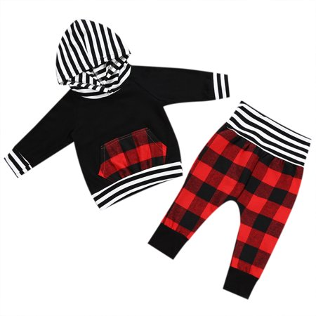 Newborn Baby Boy Girl Long Sleeve Black Hoodie with Check Pocket Tops Plaid Long Pants Outfit Clothes