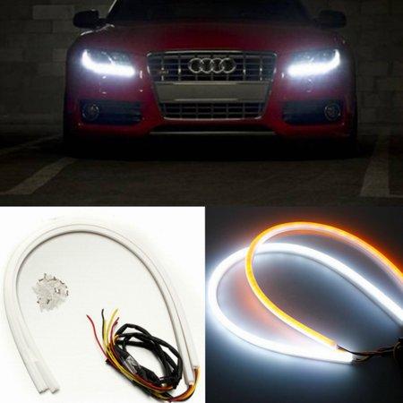 2pcs 60cm Flexible Car Soft Tube LED Strip Light DRL Sequential Turn Signal Lamp - image 3 de 9