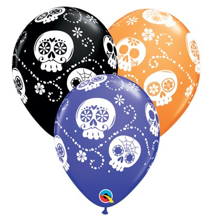 "Day of the Dead Sugar Skull 11"" Latex Balloons, Black Purple Orange, 50 CT"