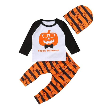 Happy Halloween Clothes Infant Baby Boy Pumpkin Bodysuit Top Striped Pant Oufit with Cute Heaband