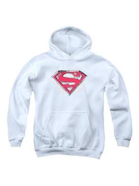 Superman Hastily Drawn Shield Big Boys Youth Pullover Hoodie WHITE