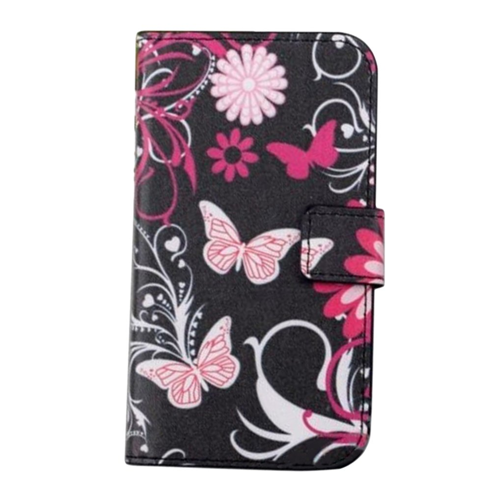 Black Butterfly Colorful Flip PU Leather Wallet Stand Case Cover Craft For Samsung Galaxy S5