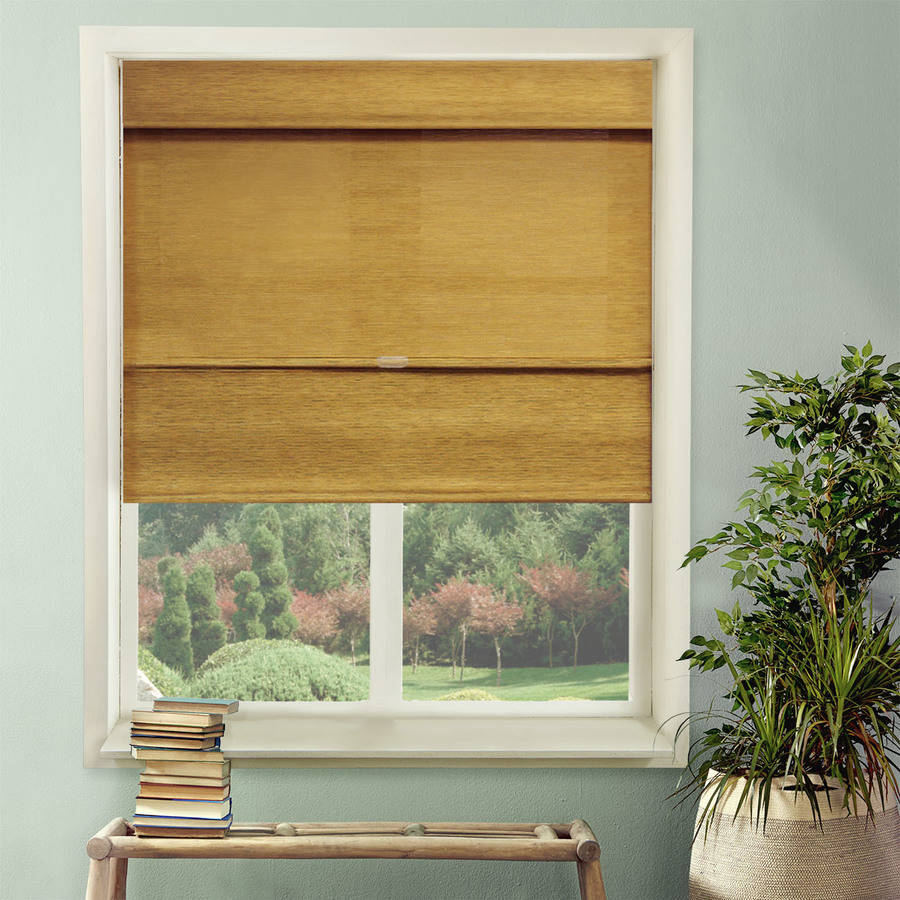 Chicology Cordless Magnetic Roman Shade, Natural Woven Fabric, Jamaican Antique Gold