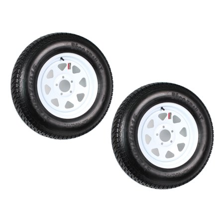 2-Pack Trailer Tire On Rim ST205/75D15 205/75 D 15 in. LRC 5 Hole White (Best 17 Inch Tires)