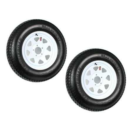 Two Trailer Tires On Rims ST205/75D15 F78-15 205/75-15 LRC 5 Lug White Spoke