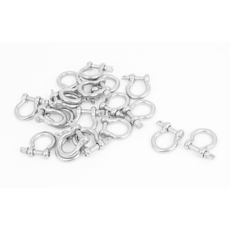Unique Bargains M4 Stainless Steel D Ring Bow Shackle U Lock Wire Rope Fastener 20 Pcs (Tools Wire Rope)