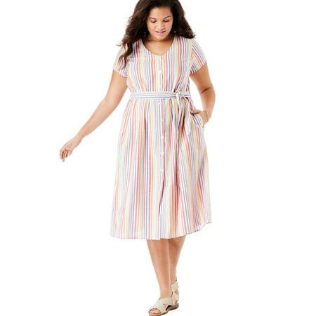 Woman Within Plus Size Short Sleeve Seersucker Button-front Dress (Front Seersucker)