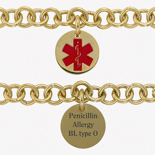 Personalized Gold over Stainless Steel Engraved Round Medical ID Bracelet, 7.5""