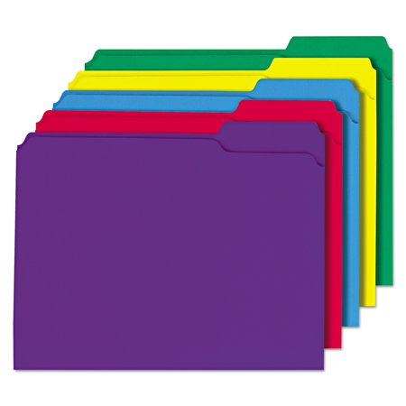 Cut File Folder Letter - Universal File Folders, 1/3 Cut Double-Ply Top Tab, Letter, Assorted Colors, 100/Box