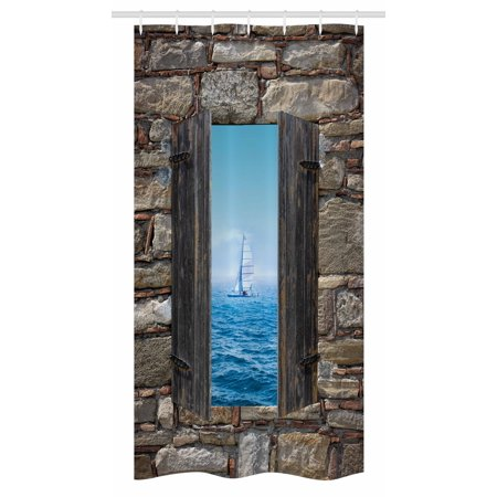 Nautical Stall Shower Curtain Image Of A Sailing Boat From Stone Window Narrow Perspective Idyllic