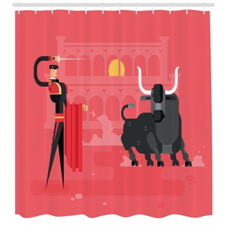 Spanish Shower Curtain Computer Art Featured Matador With The Bull In Arena Traditional Entertainment