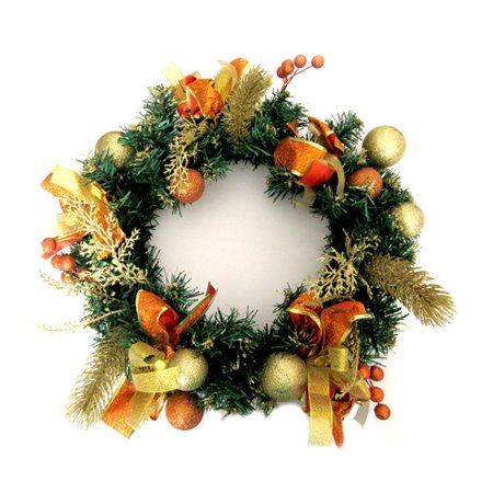 ALEKO Decorative Holiday Christmas Wreath - Gold and Orange Accented