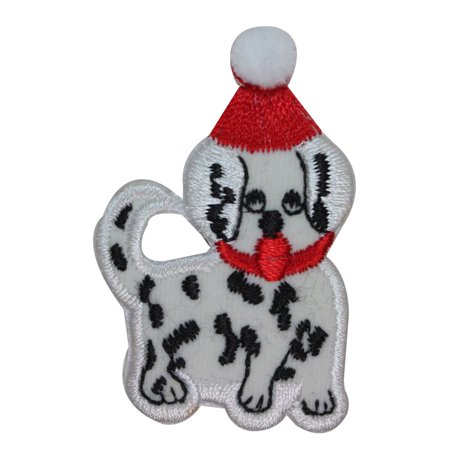 (ID 8214A Christmas Dalmatian Puppy Patch Holiday Dog Embroidered IronOn Applique)