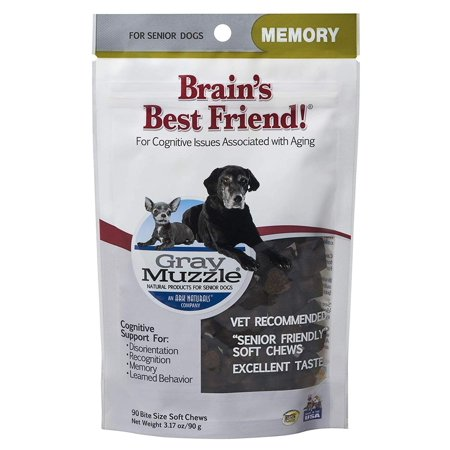 Gray Muzzle Brain's Best Friend Dog Chews for Senior Dogs, Supports Cognitive Health and Enhances Brain Retention, Functional Natural Ingredients, 90 Count.., By Ark