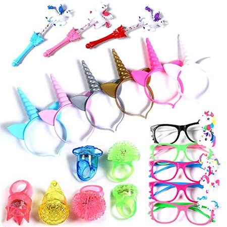 20 Pieces Unicorn LED Light Up Party Pack –Unicorn Party Favor Value Box 6 Light up Headbands,6 LED Eyeglasses,2 Unicorn Light up Wands and 6 Flashing Bumpy Rings (Heart Shaped Favor Boxes)