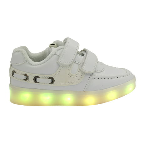 Galaxy LED Shoes Light Up USB Charging Low Top Velcro Strap Kids Sneakers (White) - Spiderman Light Up Sneakers