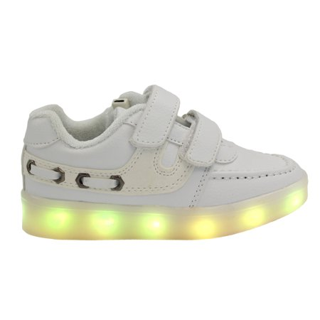 Galaxy LED Shoes Light Up USB Charging Low Top Velcro Strap Kids Sneakers (White)](Shoe Led)