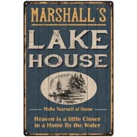 MARSHALL'S Lake House Blue Cabin Home Decor Gift 8x12 Metal 108120038125