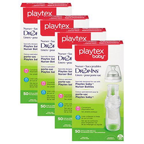 Playtex Nurser System Drop Ins Bottle Liners, Soft, 50 ct, 8 oz (Pack of 4)