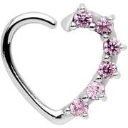 16 Gauge Pink  Heart Left Closure Daith Cartilage Tragus Earring