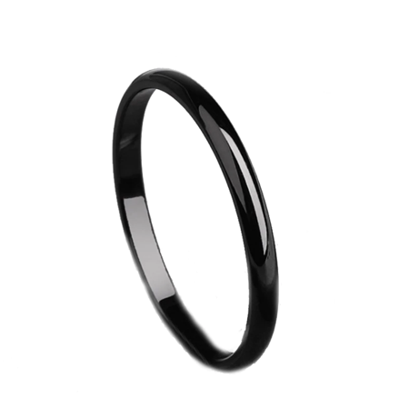 Fox Black Ring (ON SALE - Versatile 2mm Titanium Band Ring in Four Colors Black / 6 )