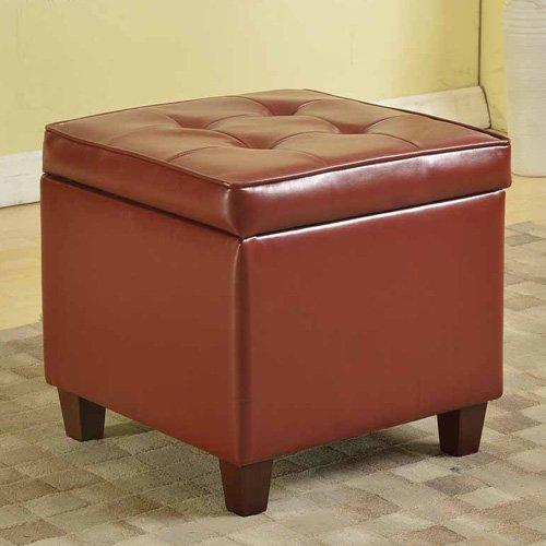 Kinfine USA Square Tufted Leatherette Storage Ottoman