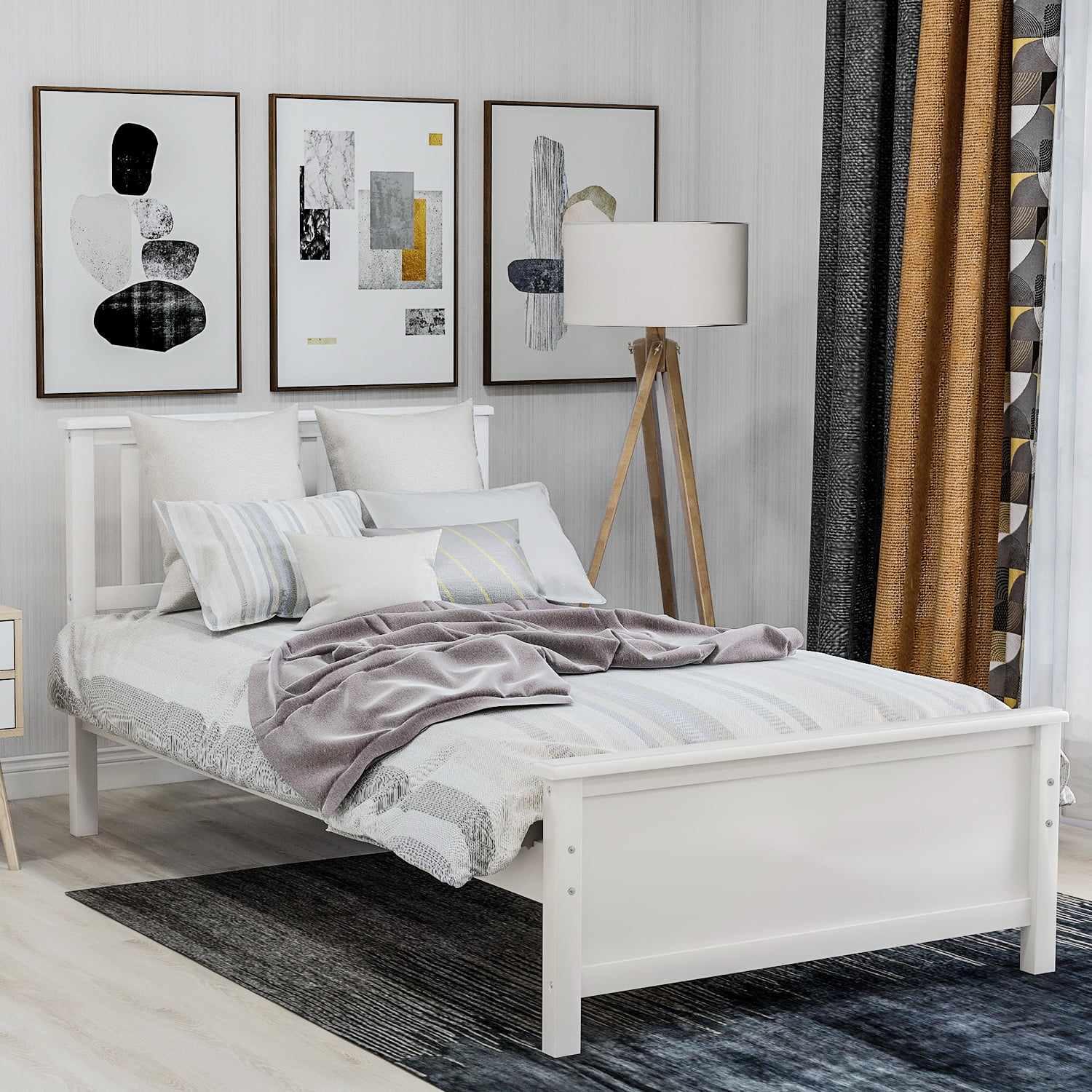 Twin Bed Frame With Headboard Solid Wood Twin Platform Bed Frame W Strong Wooden Slat No Box Spring Needed Great For Boys Girls Kids Teens And Adults Modern Bedroom Furniture White W7384