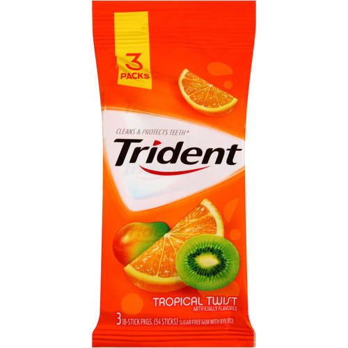 Trident Sugar-Free Tropical Twist Flavor Gum, 18 Pieces, 3 Count