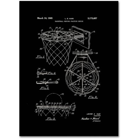 Trademark Fine Art  Basketball Hoop Patent 1965 Black  Canvas Art By Claire Doherty