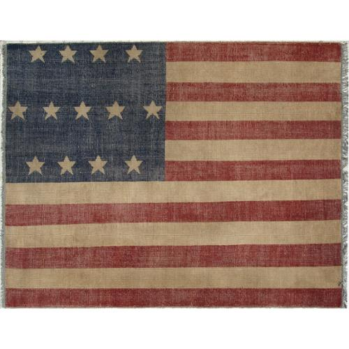 EORC Hand-knotted Wool Red Casual Flag American Flag Rug (8' x 10') - 8' x 10'