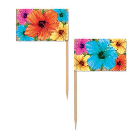 Club Pack of 600 Multi-Colored Floral Hibiscus Food, Drink or Decoration Picks 2.5
