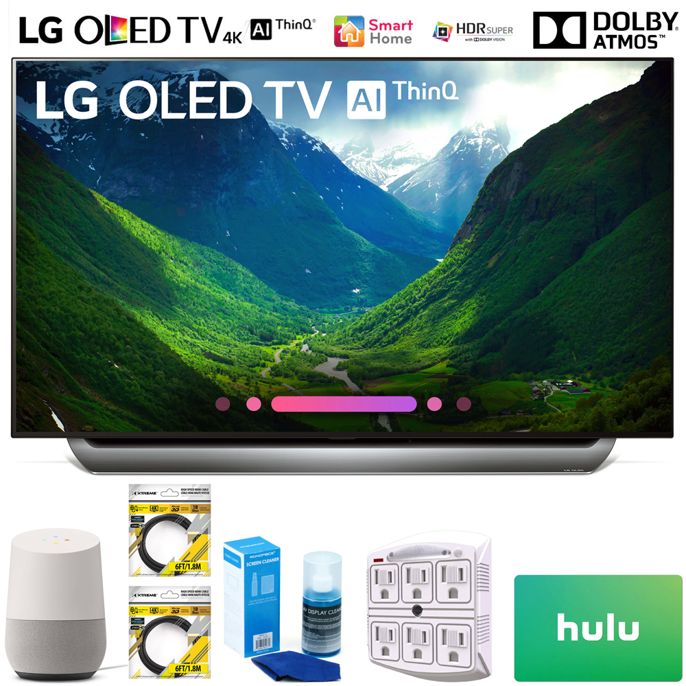 """LG OLED55C8PUA 55"""" Class C8 OLED 4K HDR AI Smart TV 2018 Model (OLED55C8PUA) with Google Home, 2x 6ft HDMI Cable, Screen Cleaner for LED TVs, 6-Outlet Surge Adapter & $100 Hulu PLUS Gift Card"""