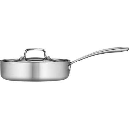Tramontina 3-Qt Stainless Steel Tri-Ply Clad Deep Saute Pan with (All Clad Stainless Steel 1-5 Qt Covered Saucepan)