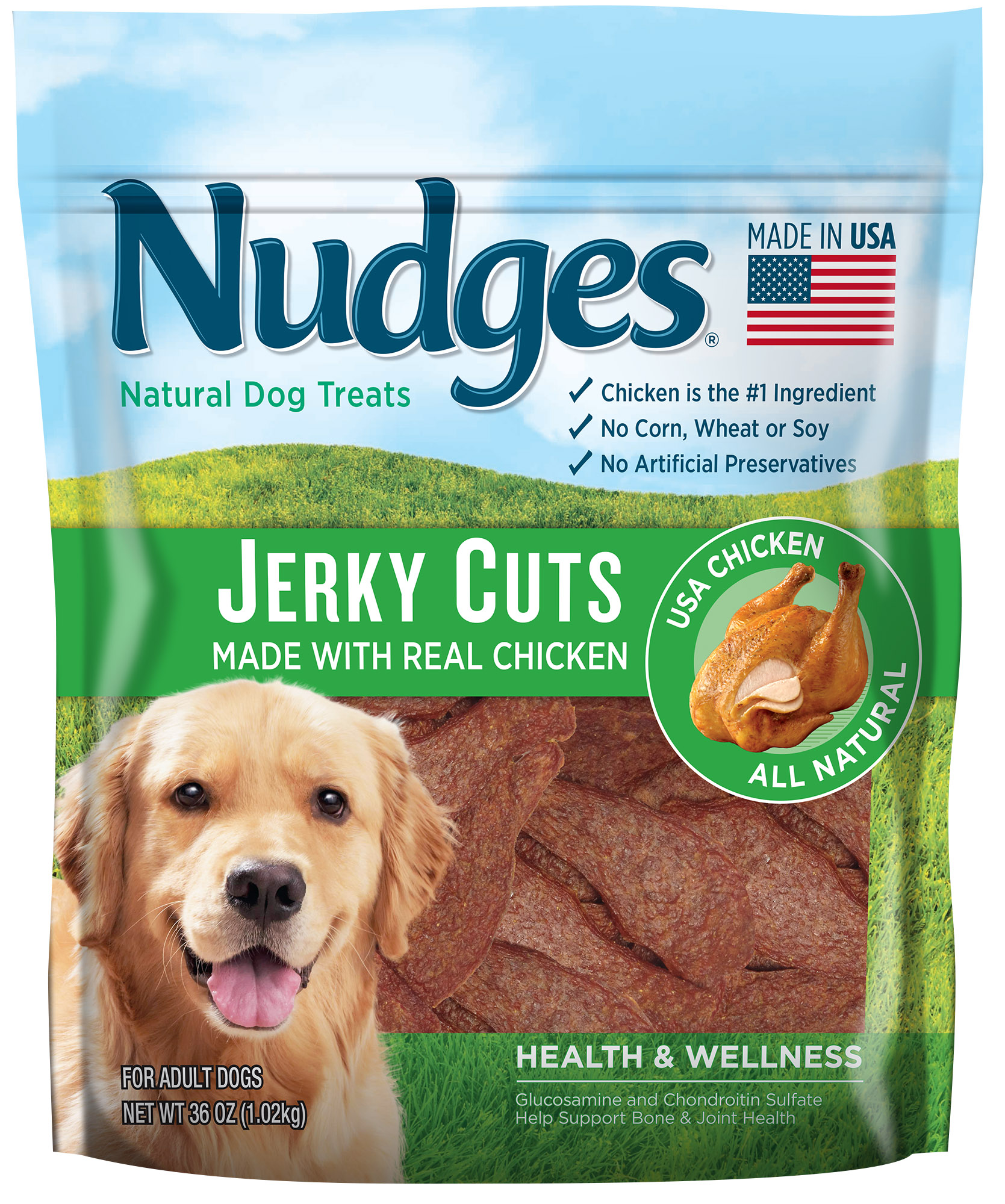 Nudges Health and Wellness Chicken Jerky Dog Treats, 36 oz. by Tyson Pet Products