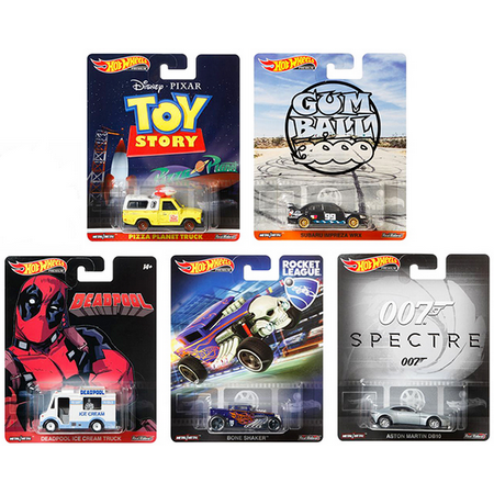 Hot Wheels 2019 Retro Entertainment N Favorites Complete Set of 5, 1/64 Diecast Model Cars  Pizza Planet Truck, Subaru WRX, Ice Cream Truck,  Bone Shaker, Aston Martin