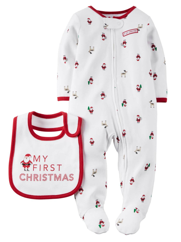 Carters Infant Boys White My First Christmas Sleep & Play Pajama ...