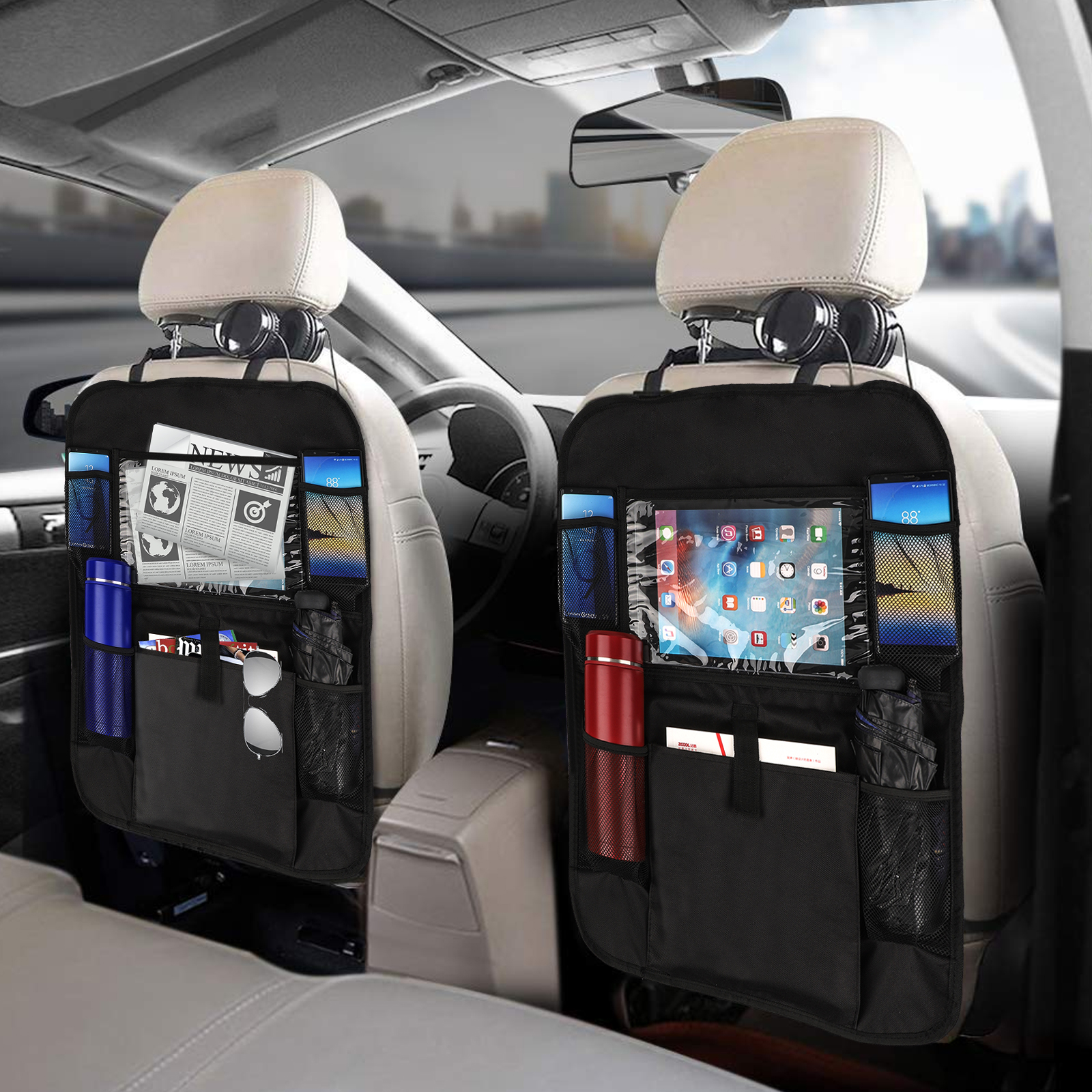 Tablet and 3 Cup Holders with Insulation Materials,Backseat Protector,Kick Mat Protector KALASONEER Car Backseat Organizer with iPad,Phone Patent Application Pending