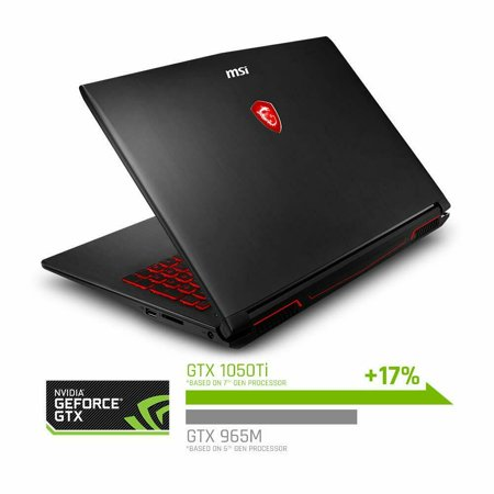 "MSI GV62 8RD-276 15.6"" Performance Gaming Laptop NVIDIA GTX 1050Ti 4G, Intel Core i7-8750H (6 cores), 16GB, 128GB NVMe SSD + 1TB HDD, Red Backlit KB, Win 10 Home, Aluminum Black Notebook"