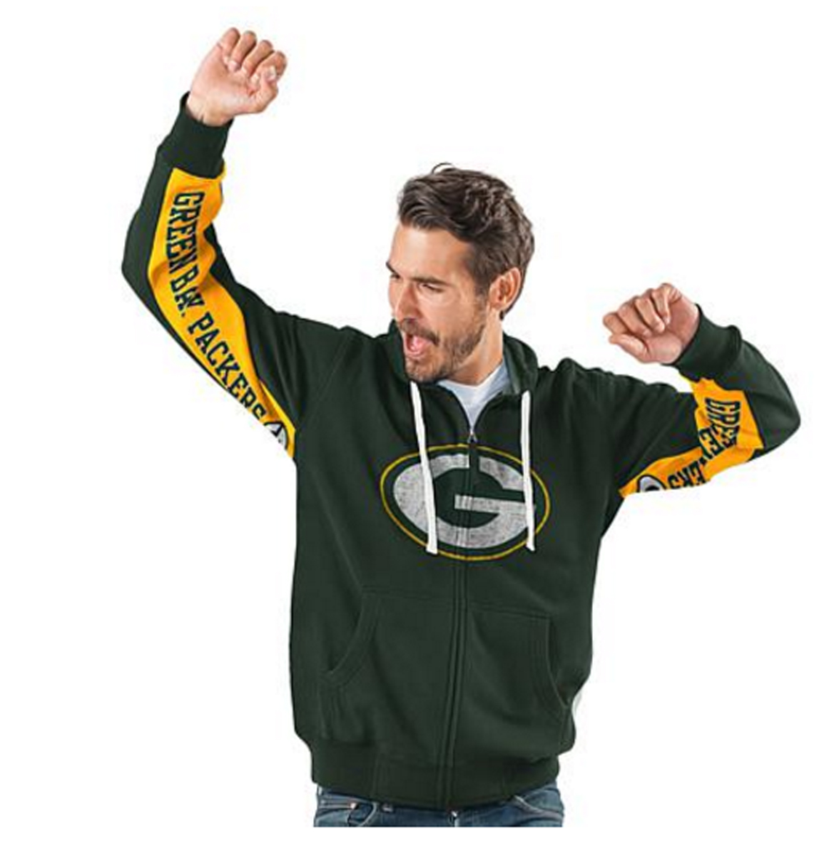 Green Bay PACKERS Official NFL Hands High Game Day Fleece Hoodie Jacket by Glll ~2X