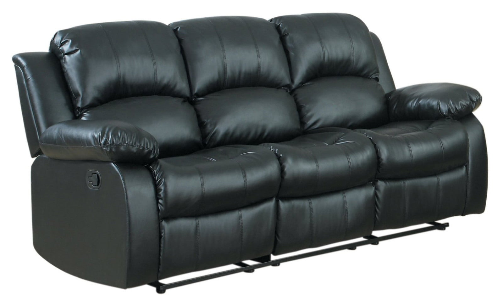 Classic 3 Seat Bonded Leather Double Recliner Sofa - Walmart.com