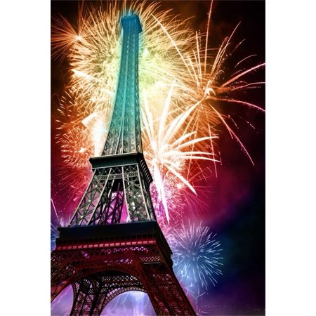 GreenDecor Polyster 5x7ft Fireworks and Eiffel Tower Background Festival Celebration Photography Backdrop Kid Adult Lovers Boy Girl Artistic Portrait Holiday Paris Photoshoot Studio Props Video Drape - Holiday Backdrops