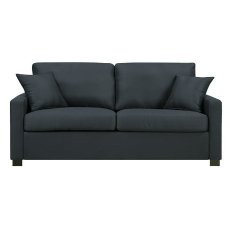 Metro Upholstered Sofa with Accent Pillows, Graphite Polyester Upholstered Sofa