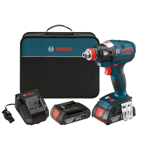 Factory-Reconditioned Bosch IDH182-02-RT 18V Cordless Lithium-Ion Brushless Socket Ready Impact Driver Kit with Soft Cas (Refurbished)