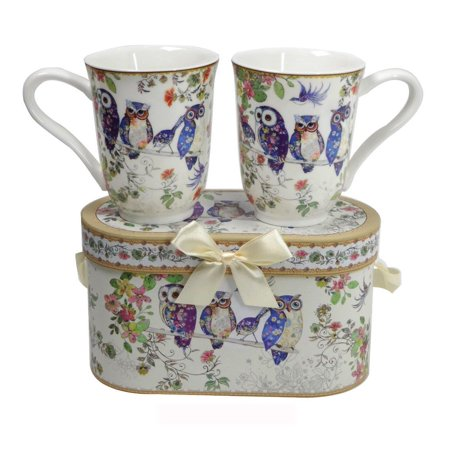 Elegantoss Royal Bone China Unique Set Of Two Coffee/Tea Mugs in an Family of Owls Design, with an Attractive Reusable Handmade Gift Box Bone China England Tea Cup