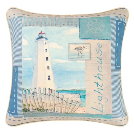 Beach Scene Throw Pillows : Lighthouse on Beach Scene Accent Throw Pillow 18 X 18 Inch Blue Printed Canvas - Walmart.com