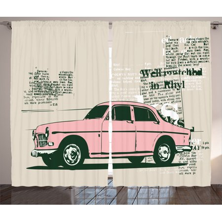 Old Car Decorations Curtains 2 Panels Set, Illustration Of Old ...