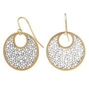 Fremada  10k Two-tone Gold Floral Cut-outs On Round Dangle Earrings
