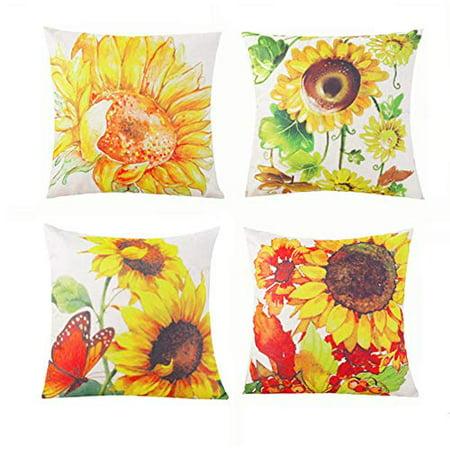 d66ce4529e02 SUFAM Set of 4 Pillow Cases Sunflower Thanksgiving Yellow Flower Floral  Vintage Watercolor Retro Throw Pillowcase Cover Cushion Case Home Decor  16x16 ...